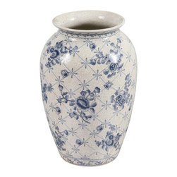"Winward Designs - Classic Chinoiserie Rose China Vase - A classic symbol of prestige in Ancient China, these blue and white decorated vases have become a Western home decor styling staple to many, and there's no wonder why! This beautiful rose and trellis painted vase embodies a crackling design throughout the entire vase for a ""cracked"" or ""shattered into a thousand pieces"" allure. Throw in your favorite flowers or set it alone as a decorating statement piece!"