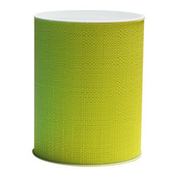 Lamont Home - Brights Round Wastebasket Lime - Made from high quality PVC/Polyester fabric, these traditional styles have been updated in a wide range of patterns to match any decor. A vinyl lid with metal grommet completes the look for the hamper. A very durable product that adds style to any laundry room.