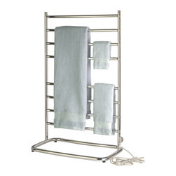 Jerdon WHC Warmrails Hyde Park Family Size Floor Standing Towel Warmer, 39-Inch - The Warmrails WHC Hyde Park Floor Standing Towel Warmer is ideal for bathrooms, locker rooms and saunas. With a chrome finish, this warmer will turn your ordinary bathroom into the ultimate, luxury spa experience. This rack has (8) bars for hanging more than one towel or fabrics at once. The 80-watts of power will warm your delicate clothing, hand washables, swimsuits, baby blankets and bedding and keep your towels dry, warm and fresh all year long while using about the same amount of energy as a light bulb. Warmrails towel warmers are designed to run 24-hours a day and plug into a standard bathroom electrical outlet. Be sure garments and towels are colorfast to avoid fading. Great for year- round use as it draws moisture away during the hot and humid months. Helps prevent mold, mildew and the musty smell on towels compared to towels that dry just at room temperature.  All models are heated with dry element technology which is oil and liquid free. The Jerdon WHC model measures 23.75-inches (L) by 39-inches (H) by 14-inches (W) and includes a 7-foot electrical cord, an illuminated on/off switch, hardware for installation, instruction manual and  is ETL/cETL listed, which means it has been tested and approved by a third party for quality and safety for use in the United States and Canada.  This towel warmer comes with a 1-year limited warranty, provided to the original purchaser, which protects this product from manufacturing defects in material, assembly and workmanship.