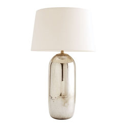 Arteriors - Anderson Lamp By Arteriors - An aged mercury glass finish gives the base of this lamp shimmer, while the simple fabric shade brings balance. It's a subtle way to let your contemporary style shine.