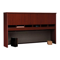 "Bush Business - 72 in. Mahogany Series C Hutch w 4 Doors - Se - The 72 inch Mahogany Series C Hutch with 4 Doors mounts on any 71 inch wide desk or on two adjacent lateral files.  The hutch features a fabric-covered tackboard, a fully finished back panel and a concealed upper storage area. * Mounts on two adjacent Lateral Files. Mounts on any 71"" wide desk or combination. Includes fabric-covered tackboard. Fully finished back panel. Accepts two task lights (not included). Four doors conceal entire upper storage area. European-style, self-closing, adjustable hinges. 70.984 in. W x 15.354 in. D x 42.992 in. H"