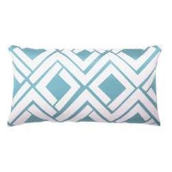 Trina Turk - Trina Turk Avenida Maze Pillow-Blue/White - The Blue/White Avenida Maze Pillow by Trina Turk is part of a line infused with bold signature prints and unique dynamic hues, Trina's modern and optimistic outlook meld the best of classic American design with a California confidence, incorporating beautiful fabrications and impeccable quality for the effortless elan and carefree glamour.