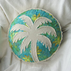 Palm Tree Boho Pillow by Beach Rebel - This Etsy seller makes a whole range of amazing tropical-themed pillows in a variety of colors. She will even custom make something just for you. This particular pillow is made of batik and white denim.