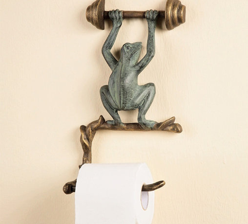 San Pacific - Frog Wall Mounted Toilet Paper Holder - A whimsical, nature-themed fixture, our verdigris and bronze finished toilet paper holder easily mounts to your bathroom wall to keep tissue within reach. With an amusing frog sculpture standing on a branch-like holder, our unique item will add a charming touch to your powder room. This line of extraordinary treasures features distinctive decorative wares that are sure to find a perfect place in your heart and home.