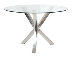 Moe's Home Collection - Moes Home Redondo Round Glass Dining Table w/ Stainless Steel Base - Elegant Dining Table and the perfect size for any space.
