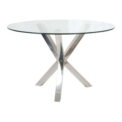 Moe's Home Collection - Moe's Home Redondo Round Glass Dining Table with Stainless Steel Base - Elegant dining table and the perfect size for any space.