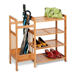 Bamboo Entryway Organizer - Honey-Can-Do SHO-02222 4-Tier Bamboo Entryway Organizer. Take the mud out of your mudroom with this beautiful bamboo storage unit. The perfect accessory for any entryway, this organizer features four shelves for storing shoes and accessories such as bags and hats. The tall side compartment is great for storing umbrellas and tall boots. The bamboo surface is durable and moisture resistant, making it safe for wet shoes and umbrellas. All hardware required for assembly is included.