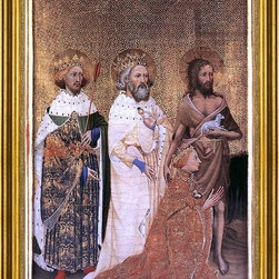 "unknown painters Masters-16""x24"" Framed Canvas - 16"" x 24"" unknown painters Masters Wilton Diptych: Richard II of England with his patron saints framed premium canvas print reproduced to meet museum quality standards. Our museum quality canvas prints are produced using high-precision print technology for a more accurate reproduction printed on high quality canvas with fade-resistant, archival inks. Our progressive business model allows us to offer works of art to you at the best wholesale pricing, significantly less than art gallery prices, affordable to all. This artwork is hand stretched onto wooden stretcher bars, then mounted into our 3"" wide gold finish frame with black panel by one of our expert framers. Our framed canvas print comes with hardware, ready to hang on your wall.  We present a comprehensive collection of exceptional canvas art reproductions by unknown painters Masters."