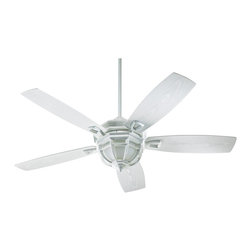 "Quorum - Traditional 52"" Quorum Belvedere White Patio Ceiling Fan with Light Kit - Indoors or out this casual transitional style patio ceiling fan will keep your space cool and beautiful. Five white finish semi-square blades rotate on a delightful patio white finish housing. A patio white and white glass light kit adds a touch of classic charm. Wet-rated for use outdoors or indoors in a steamy bathroom. Patio white finish housing. Five white finish blades. Patio white light kit.  White glass. Takes three 40 watt candelabra bulbs (included). Includes one 4"" and one 6"" downrod. Limited lifetime motor warranty. Wet location rating; can be used outdoors. 52"" blade span. 14 degree blade pitch.(IMAP)  Patio white finish housing.   Five white finish blades.   Patio white light kit.    White glass.   Takes three 40 watt candelabra bulbs (included).   Includes one 4"" and one 6"" downrod.  Limited lifetime motor warranty.   Wet location rating; can be used outdoors.   52"" blade span.   14 degree blade pitch."