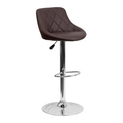 Flash Furniture - Flash Furniture Barstools Residential Barstools X-GG-NRB-A82028-HC - This dual purpose stool easily adjusts from counter to bar height. The bucket seat design will make this a great accent chair around the bar area or kitchen. The easy to clean vinyl upholstery is an added bonus when stool is used regularly. The height adjustable swivel seat adjusts from counter to bar height with the handle located below the seat. The chrome footrest supports your feet while also providing a contemporary chic design. [CH-82028A-BRN-GG]