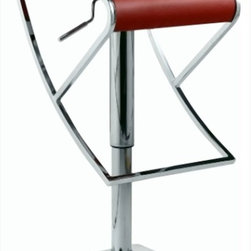 Chintaly Imports - Pneumatic Gas Lift Swivel Stool in Brushed Stainless Steel - Modern Pneumatic Adjustable Height Swivel Stool. Height easily adjusts from 19-29. It has a Chrome column and Brushed Stainless Steel base and footrest. The stool is available is Black, Red or White Regenerated Leather.