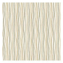 Tan & Brown Wavy Lines Cotton Fabric - Modern wavy lined stripe in gold, brown & gray.  A hint of playfulness to liven up any space.Recover your chair. Upholster a wall. Create a framed piece of art. Sew your own home accent. Whatever your decorating project, Loom's gorgeous, designer fabrics by the yard are up to the challenge!