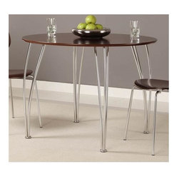 Dorel Home Products - Bentwood Round Dining Table - Contemporary style. Chrome colored curvy legs. Warranty: One year. 39.5 in. Dia. x 30 in. H (20 lbs.). Assembly InstructionsThis round table adds a contemporary style to your dining experience.