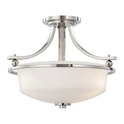 Minka-Lavery - Ameswood Polished Nickel Three-Light Semi-Flush with Etched White Glass - Ameswood Polished Nickel Three-Light Semi Flush Mount with Etched White Glass Minka-Lavery - 1622-613