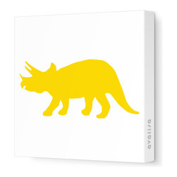 "Avalisa - Silhouette - Tri Stretched Wall Art, 12"" x 12"", Yellow -"