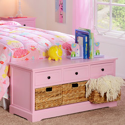 Pink 6-Drawer Kids Storage Bench - Bench measures 42L x 16W x 20H in.