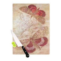 """Kess InHouse - Suzanne Carter """"Vintage Garden"""" Butterfly Moth Cutting Board (11"""" x 7.5"""") - These sturdy tempered glass cutting boards will make everything you chop look like a Dutch painting. Perfect the art of cooking with your KESS InHouse unique art cutting board. Go for patterns or painted, either way this non-skid, dishwasher safe cutting board is perfect for preparing any artistic dinner or serving. Cut, chop, serve or frame, all of these unique cutting boards are gorgeous."""