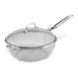 Maverick - Mesh Chefs Pan - Large Mesh Chef Grilling Pan with locking lid. Perfect for grilling vegetables. Allows the cook to toss the ingredients using the long Stainless Steel handle. Made from high quality #304 Stainless Steel.