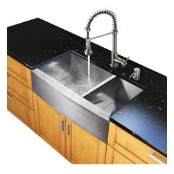 Vigo Industries - 36 in. Farmhouse Kitchen Sink and Faucet Set - Includes soap dispenser, two matching bottom grids and two strainers