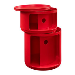 Modway Furniture - Modway Orbit Storage Module in Red - Storage Module in Red belongs to Orbit Collection by Modway Now you see it, now you don��_��_��_��_��_��_t. In a perfect blend of visual effects and sliding hatches, Orbit shows you why decor shouldn��_��_��_��_��_��_t end with the trash can. Whether for your recyclables or not, the compact cylindrical design imparts a sense of futurism to your room. Made of resilient ABS plastic, complete your modern home or office with a contemporary piece that livens up even the most basic of utilities. Set Includes: One - Orbit Trash Bin Storage Module (1)