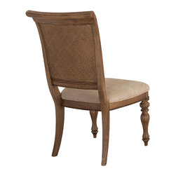 American Drew - American Drew Grand Isle Side Chair in Amber, Set of 2 - Side Chair in Amber belongs to Grand Isle collection by American Drew The Grand Isle collection is a lifestyle bedroom and dining room group that offers high end, yet casual up to date tropical style with multiple options for any room of the home; creating a collection that is perfect for many homes, vacation homes or even smaller size vacation condos. The amber finish has a warm overtone with subtle dark burnished accents that make the natural soft distressing show through. Design elements used in Grand Isle include carved and shaped pilasters, woven drawer fronts and a louver motif; all adding a higher end look to the collection. This collection is sure to add a relaxed, yet sophisticated style to most homes and offers plenty of options to help with storage and organization.