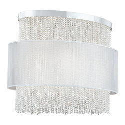 Eurofase - Harmoni 20428-013 - 12-Light Pendant Lamp | Eurofase - Eurofase Lighting Harmoni 20428-013�12-Light�Pendant Lamp features�silk pleated shade and clear cut crystal beading with chrome hardware.A gravity challenged sheer fabric floats around a crystal curtain. Lit from above and through the midsection. This collection is a perfect blend of styles. Manufacturer: Eurofase LightingSize:�36 in. length x 20 in. width x 32 in. heightLight Source:�8 x 50 watt GU10 120V Halogen + 4 x 60W A19 E26 120V - not includedLocation:�DryCertifications: ETL