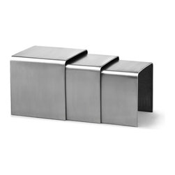 Aura Nesting Tables by Zuo Modern - Like halos of energy wrapping around one another, the Aura nesting tables slide into each other for a space saving design. Made from 100% stainless steel.