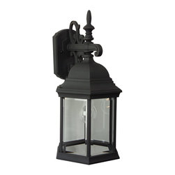 Exteriors - Exteriors Cast Aluminum Hex Style Outdoor Wall Sconce - Large X-50-496Z - This Craftmade Cast Aluminum Hex Style Outdoor Wall Sconce is perfect for a home with simple beauty and understated elegance. It has a beautiful cast aluminum frame in a matte black finish with gracefully flowing scroll work and panels of clear, beveled glass. It's an impressive outdoor light fixture that will effortlessly enhance the look of your home.