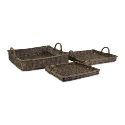 "IMAX CORPORATION - Olivia Willow Trays - Set of 3 - Olivia Willow Trays. Set of 3 trays in varying sizes measuring approximately 3.25-4-6""H x 12.5-15.25-17.25""W x 12-14-16"" each. Shop home furnishings, decor, and accessories from Posh Urban Furnishings. Beautiful, stylish furniture and decor that will brighten your home instantly. Shop modern, traditional, vintage, and world designs."