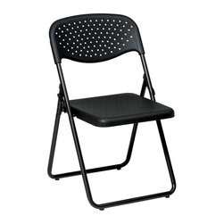 Office Star - Plastic Folding Chair in Black- Set of 4 - Strong and durable, this handsome set of four folding chairs makes great extra seating for home, work, or school.  Ventilated heavy-duty black finish plastic chairs feature sturdy tubular metal frames that fold flat for easy and compact storage. Set of 4. Ventilated black plastic seat and back. Gangable and stackable. Black finish frame. Seat: 16 in. W x 16.5 in. D. Back: 19 in. W x 19.5 in. H. Seat Height: 17. 19 in. W x 20.5 in. L x 32 in. H (46 lbs.)
