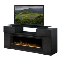 Dimplex - Dimplex Concord Electric Fireplace Entertainment Center - Dimplex - TV Stands - GDS501243SC - The Concord is a sophisticated entertainment center that showcases the BLF50 Fireplace  in a unique way. The Concord includes open and closed storage providing ample storage for electronic components and a bridge supported glass top to elevate the video display. The warm grey finish provides a perfect complement to todays high tech audio/visual equipment.Light shines and reflects off the randomly-sized glass pieces creating an effect that is as alluring as it is contemporary.