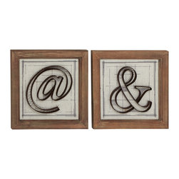 Fancy Wood Metal Wall Decorative, Set of 2 - Description: