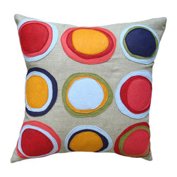 Balanced Design - Felt Appliqué Linen Pillow - Mona, 16 x 16 - Apply bright pops of color and handmade style to your sofa, bed or chair. Wool felt circles in bright colors are stitched onto greige organic linen for modern-meets-natural appeal. Each pillow features a zipper closure and ecofriendly insert and comes in a choice of two sizes.