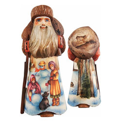 """Artistic Wood Carved Winter Friends Santa Claus w/ Snowman Sculpture - Measures 10""""H x 3.5""""L x 6.75""""W and weighs 3 lbs. G. DeBrekht fine art traditional, vintage style sculpted figures are delightful and imaginative. Each figurine is artistically hand painted with detailed scenes including classic Christmas art, winter wonderlands and the true meaning of Christmas, nativity art. In the spirit of giving G. DeBrekht holiday decor makes beautiful collectible Christmas and holiday gifts to share with loved ones. Every G. DeBrekht holiday decoration is an original work of art sure to be cherished as a family tradition and treasured by future generations. Some items may have slight variations of the decoration on the decor due to the hand painted nature of the product. Decorating your home for Christmas is a special time for families. With G. DeBrekht holiday home decor and decorations you can choose your style and create a true holiday gallery of art for your family to enjoy. All Masterpiece and Signature Masterpiece woodcarvings are individually hand numbered. The old world classic art details on the freehand painted sculptures include animals, nature, winter scenes, Santa Claus, nativity and more inspired by an old Russian art technique using painting mediums of watercolor, acrylic and oil combinations in the G. Debrekht unique painting style. Linden wood, which is light in color is used to carve these masterpieces. The wood varies slightly in color."""