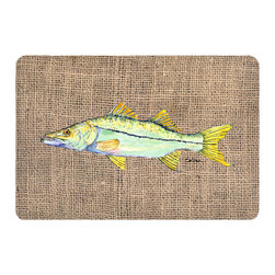 Caroline's Treasures - Fish - Snook Kitchen or Bath Mat 20 x 30 - Kitchen or Bath Comfort Floor Mat This mat is 20 inch by 30 inch. Comfort Mat / Carpet / Rug that is Made and Printed in the USA. A foam cushion is attached to the bottom of the mat for comfort when standing. The mat has been permanently dyed for moderate traffic. Durable and fade resistant. The back of the mat is rubber backed to keep the mat from slipping on a smooth floor. Use pressure and water from garden hose or power washer to clean the mat. Vacuuming only with the hard wood floor setting, as to not pull up the knap of the felt. Avoid soap or cleaner that produces suds when cleaning. It will be difficult to get the suds out of the mat.