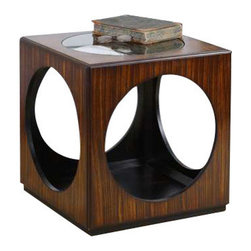 Uttermost Tura Cube Accent Table - Richly grained zebra wood veneer with open cutouts and clear glass top. Richly grained zebra wood veneer with open cutouts and clear glass top.