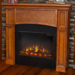 Real Flame - Electric Fireplace in Pecan Finish - Includes wooden mantel, firebox, screen, remote control and anti topple safety device. Classically detailed. Inset columns. Arched center panel. Plugs into any standard outlet. Realistic and built in look. 1400 watt heater. Rated over 4700 BTUs per hour. Programmable thermostat with display in fahrenheit or celsius. Ultra bright LED technology with five brightness settings. Digital readout display with up to nine hours timed shut off. Dynamic ember effect. UL and ISTA 3A certified. Warranty: Ninety days on mantel and one year on electric firebox. Made from solid wood, veneered MDF and powder coated steel. Assembly required. 46 in. W x 8.7 in. D x 41.22 in. H (78.2 lbs.)Unit must be anchored to a wall using the included hardware. The Bradford mantel is the next generation of electric fireplace.