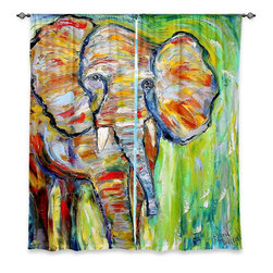 "DiaNoche Designs - Window Curtains Lined by Karen Tarlton Wild Elephant - Purchasing window curtains just got easier and better! Create a designer look to any of your living spaces with our decorative and unique ""Lined Window Curtains."" Perfect for the living room, dining room or bedroom, these artistic curtains are an easy and inexpensive way to add color and style when decorating your home.  This is a woven poly material that filters outside light and creates a privacy barrier.  Each package includes two easy-to-hang, 3 inch diameter pole-pocket curtain panels.  The width listed is the total measurement of the two panels.  Curtain rod sold separately. Easy care, machine wash cold, tumble dry low, iron low if needed.  Printed in the USA."
