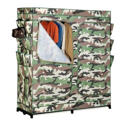 "60In Double Door Storage Closet- Camouflage With Shoe Organizer - Honey-Can-Do WRD-01518 60"" Portable Storage Wardrobe, Camouflage. The granddaddy of all economy storage closets, this amazing wardrobe measures a generous 60-inches wide and works great for extra hanging space or seasonal storage. The high-capacity steel rod will hold all of your shirts, pants, and other items.  The lightweight, moisture-resistant fabric cover completely surrounds your clothing, protecting it from dust and debris, and offers the convenience of two D-Style zipper doors for easy access. Integrated 9-pocket exterior storage is perfect for belts, sunglasses, and small electronics."