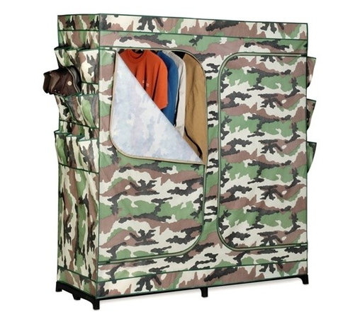 """60In Double Door Storage Closet- Camouflage With Shoe Organizer - Honey-Can-Do WRD-01518 60"""" Portable Storage Wardrobe, Camouflage. The granddaddy of all economy storage closets, this amazing wardrobe measures a generous 60-inches wide and works great for extra hanging space or seasonal storage. The high-capacity steel rod will hold all of your shirts, pants, and other items.  The lightweight, moisture-resistant fabric cover completely surrounds your clothing, protecting it from dust and debris, and offers the convenience of two D-Style zipper doors for easy access. Integrated 9-pocket exterior storage is perfect for belts, sunglasses, and small electronics."""