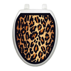 Leopard - Toliet Tattoo (Elongated) - You know how your toilet seat is so plain, you'd like to embellish it, but you don't want to use the old fashioned, germ harboring rug and you don't want to invest in a decorative toilet seat? Well... Lena Fiore' Inc. has the solution...Toilet Tattoos.