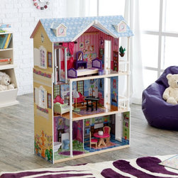 KidKraft - KidKraft My Dreamy Toy Dollhouse with Lights and Sounds Multicolor - 65823 - Shop for Dollhouses and Dollhouse Furnishings from Hayneedle.com! Your little doll will love playing for hours with her KidKraft My Dreamy Toy Dollhouse with Lights and Sounds. This deluxe dollhouse features a gliding elevator that stops at all three floors and 14 pieces of furniture including a grand piano that plays music a toilet that makes flushing sounds and a lamp that lights up. Every door and window opens and closes for added appeal. The interactive features will kindle her imagination and the elaborate furniture and decor will hold her attention whether she's playing solo or with her sidekicks. This massive mansion features a composite wood architecture and two Victorian-inspired outdoor patios with wide pearly columns. Detailed step-by-step assembly instructions and batteries are included so she'll be setting up shop and staging this dream house as soon as it shows up. Powered by 9 LR44/AG13 (1.5V) batteries. About KidKraftKidKraft is a leading creator manufacturer and distributor of children's furniture toy gift and room accessory items. KidKraft's headquarters in Dallas Texas serves as the nerve center for the company's design operations and distribution networks. With the company mission emphasizing quality design dependability and competitive pricing KidKraft has consistently experienced double-digit growth. It's a name parents can trust for high-quality safe innovative children's toys and furniture.