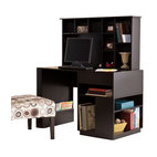 Holly and Martin - Torres Desk & Hutch - Black - Unclutter and unwind with the home office of your dreams. This desk and hutch provide impressive storage options for all the essentials you need for work or play. The ample space and simple lines of this desk with hutch combine for a home office bound to impress.