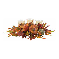 Nearly Natural - Nearly Natural Harvest Triple Candelabrum - Triple the candles, triple the beauty - that's our motto (well, for this gorgeous piece, at least.) But really, just take a look at it - three beautiful candleholders lovingly nestled into a bevy of autumn fruits, berries, and foliage. It's the perfect accessory for any holiday decor, from a dinner table to a bookshelf to a warm hearth. Also makes a thoughtful gift that will be welcomed in any home.