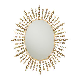 Chain Oval Mirror - Radiating celestial motifs get a gritty and glamorous overhaul in this memorable mirror.  Perfect for adding a luminous bejeweled quality to your home while maintaining an edgy transitional feel, the Chain Oval Mirror displays its links in gold-leaf silhouette against your wall surrounding an oval pane which continues the updated classicism of the look.
