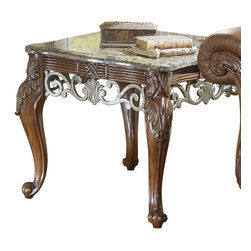 Homelegance - Homelegance Barcelona Square End Table - Reed and tie accents with ironstone marble tops all wrapped together in a rich warm cherry finish. This signature table grouping is the perfect accent for the matching fabric or leather upholstery.