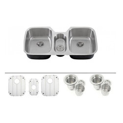 """TCS Home Supplies - 43 Inch Stainless Steel Undermount Triple Bowl Kitchen Sink& ACCESSORIES - Premium 16 Gauge Stainless Steel Kitchen Sink Value Package. Package comes with Matching Protective Grid Set, Two Deluxe Basket Strainers. Spacious Triple Bowl Design. Undermount Installation. Brushed Stainless Steel Finish. Dimensions 42-3/4"""" x 20-3/4""""x 8-1/2"""" I 4-7/8""""."""