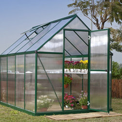 Mythos Hobby Greenhouse Kit - Nature Green - 6' x 6' - The Mythos Hobby Greenhouse can get you up and growing in no time! Save money by starting your plants early from seed and extend your season by protecting plants from fall frosts. The clear, polycarbonate twin-wall panels on the Mythos greenhouse have twice the heat retention of single layer panels so it's great for overwintering those pampered patio pots.
