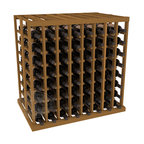 Double Deep Tasting Table Wine Rack Kit in Redwood with Oak Stain - The quintessential wine cellar island; this wooden wine rack is a perfect way to create discrete wine storage in open floor space. With an emphasis on customization, install LEDs or add a culinary grade Butcher's Block top to create intimate wine tasting settings. We build this rack to our industry leading standards and your satisfaction is guaranteed.