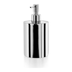 WS Bath Collections - Saon Soap Dispenser in Stainless Steel - Made by Lineabeta of Italy. Product Material: Stainless Steel. Finish/Color: Silver. Dimensions: 3.2 in. Diameter x 6.3 in. H
